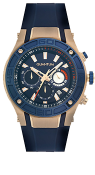 Quantum POWERTECH, gold/blue,47x53mm, silicone blue